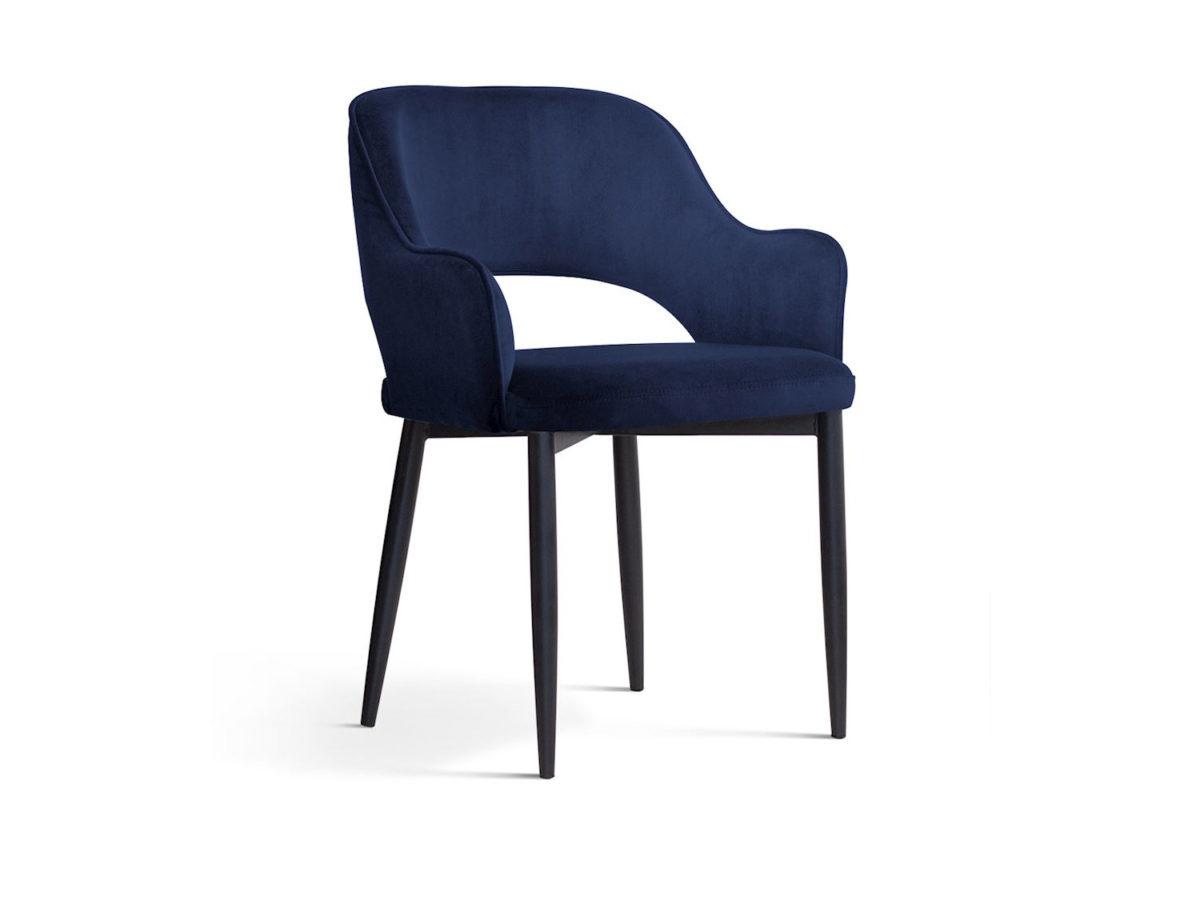 Nowoczesne krzesło tapicerowane Isabell granatowe. Stelaż metalowy czarny. Krzesło pasuje do kuchni i jadalni w stylu nowoczesnym. Krzesła na zamówienie Białystok.