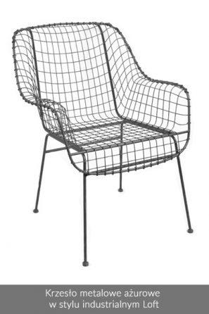 Krzesło metalowe ażurowe w stylu industrialnym Loft
