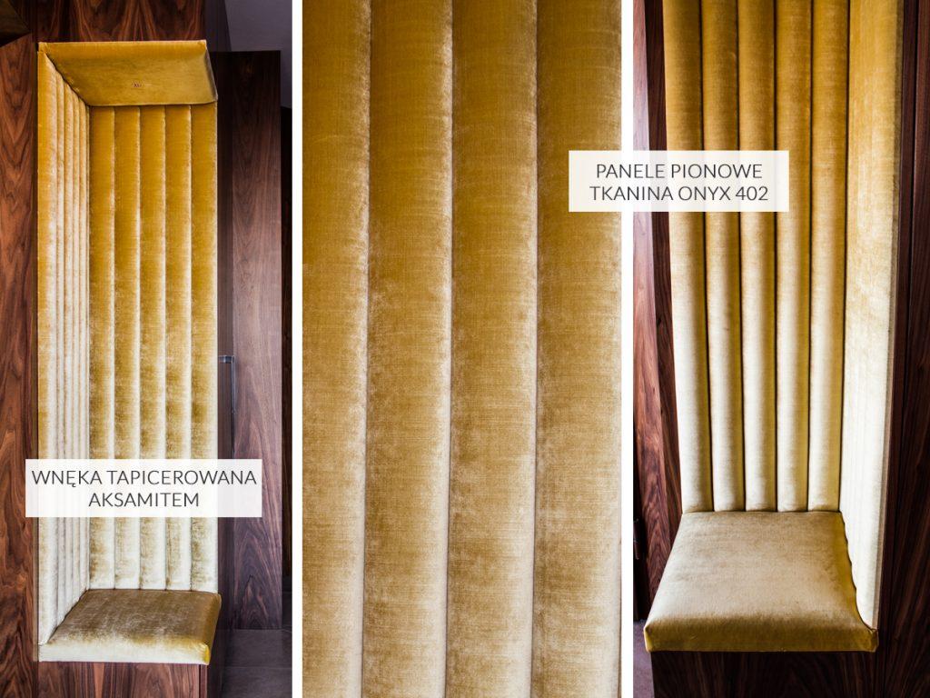 Panele tapicerowane pionowe w przedpokoju apartament Białystok. Wnęka tapicerowana z połyskującej aksamitnej tkaniny Onyx 402. Wąskie panele z pianką 3cm.