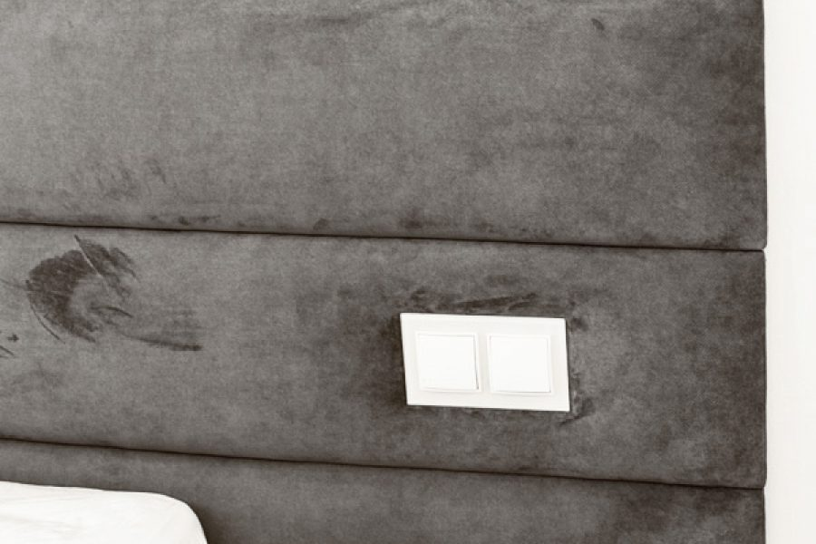 Panele tapicerowane w sypialni mieszkanie Białystok