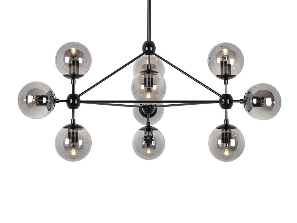 Lampa wisząca kule Ontario 10. Żyrandol posiada 10 szklanych kloszy. Lampa sufitowa pasuje do salonu i kuchni w stylu nowoczesnym i loft.
