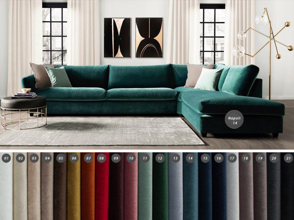 Tkanina obiciowa aksamit welur Napoli to miękki, łatwoczyszczący materiał tapicerski. Tkanina jest wytrzymała, hydrofobowa.