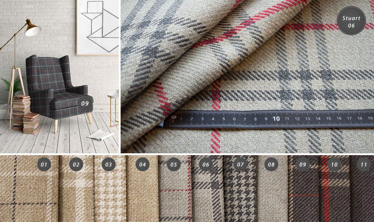 Tkanina obiciowa Stuart to nowoczesna i elegancka plecionka - wzór w kratę, pepitkę oraz gładki.Materiał tapicerski jest bardzo gruby,trwały, wytrzymały.