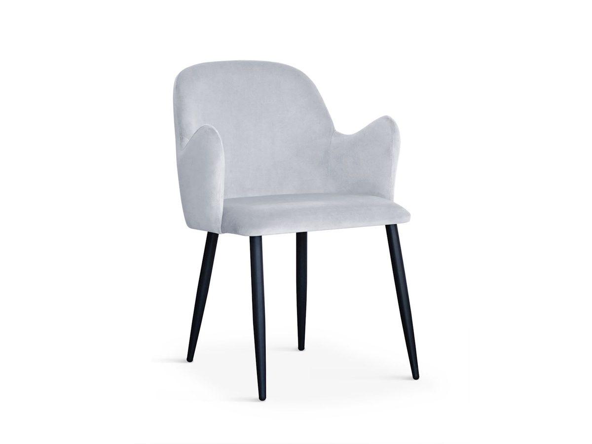 Nowoczesne krzesło tapicerowane Dove czarne nogi, pasuje do salonu oraz jadalni w stylu nowoczesnym.Stelaż metalowy w kolorze czarnym.