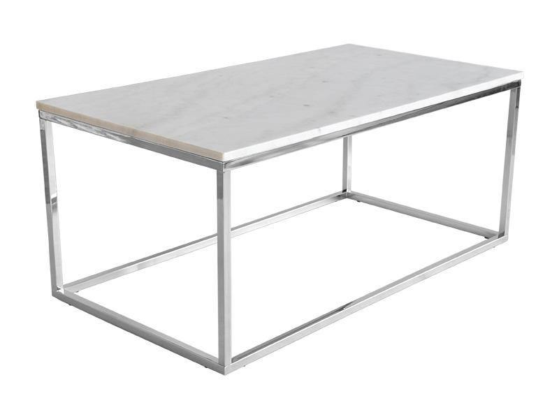 Stolik marmur Marble 110x60 cm biały. Stolik kawowy pasuje do wnętrz w stylu nowojorskim i glamour. Polecamy także okrągłe stoliki kawowe.