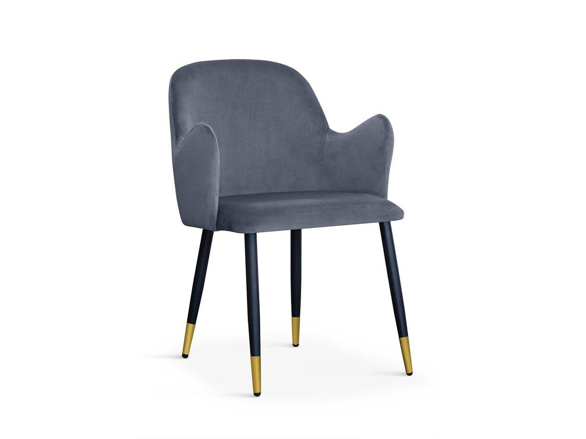 Nowoczesne krzesło tapicerowane Dove czarne nogi, złote końce. Pasuje do salonu, jadalni w stylu nowoczesnym. Stelaż metalowy czarny, ze złotymi końcówkami.