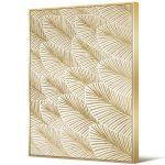 Obraz na płótnie z ramą typu american box o wymiarach 82x122 cm Abstrakcja Złote Pióra. Obraz pasuje do salonu i sypialni w stylu nowoczesnym.