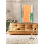 Obraz na płótnie z ramą typu american box o wymiarach 104x144 cm Abstrakcja Natural. Obraz pasuje do salonu i sypialni w stylu nowoczesnym.