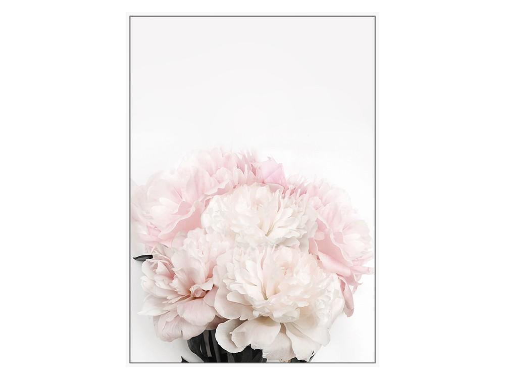 Obraz na płótnie z ramą typu american box o wymiarach 102x142 cm Pastelowe Róże II.Obraz do salonu i sypialni w stylu nowoczesnym.