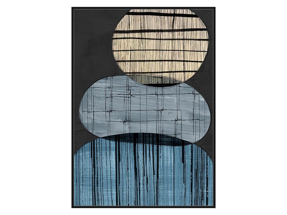 Obraz na płótnie w czarnej ramie o wymiarach 102x142 cm Abstrakcja III. Obraz pasuje do salonu i sypialni w stylu nowoczesnym.