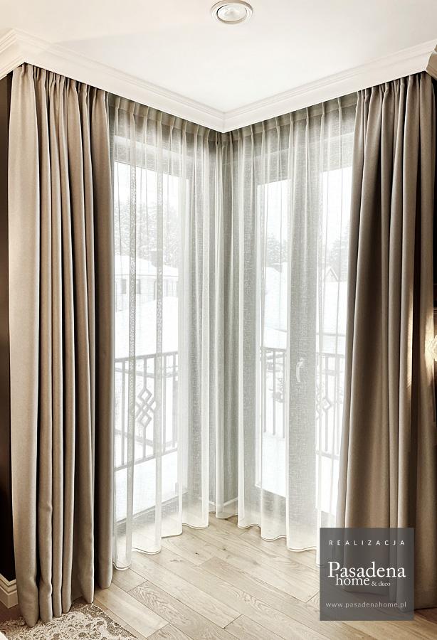 Firany i zasłony w sypialni lniana tkanina Puro i zaciemniająca Minos